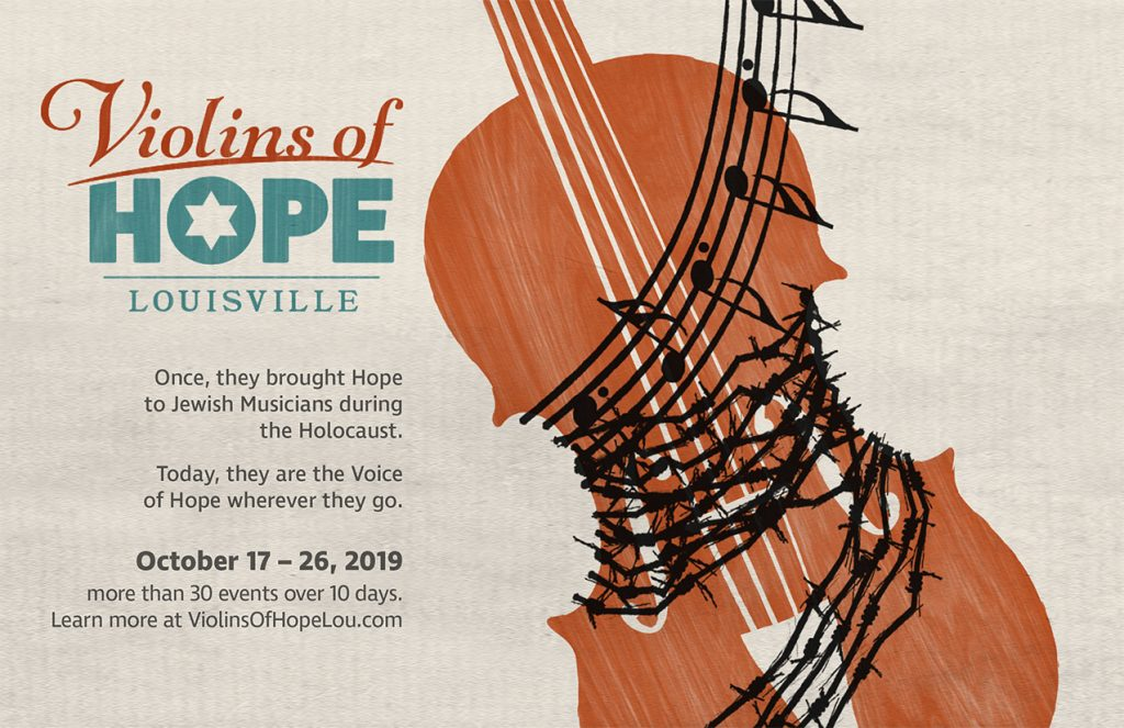 A poster advertising Violins of Hope that features a violin wrapped in barbed wire that turns into music notes.